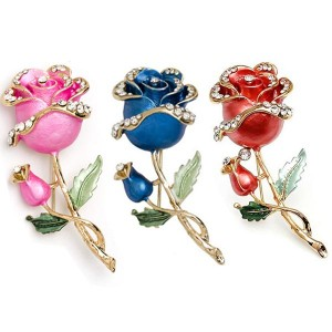 Crystal Rose Flower Brooch