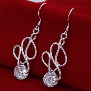 925 Curved Line Rhinestone Earrings