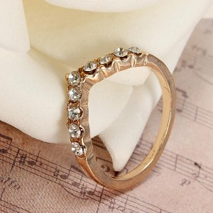 V Shape Heart Finger Ring