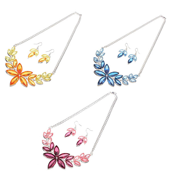 Crystal Leaves Jewelry Set