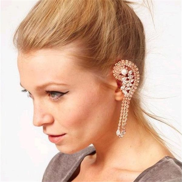 Tassel Crystal Ear Cuff