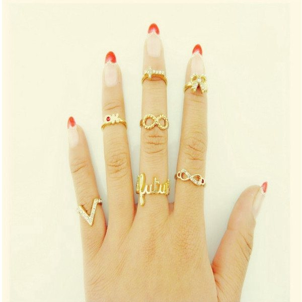 7Pcs Crystal Bowknot Knuckle Rings