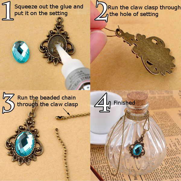 DIY Vintage Crystal Necklace