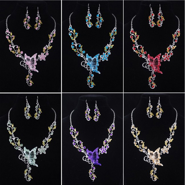 bridal butterfly jewelry set