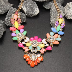 Crystal Acrylic Statement Necklace