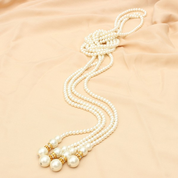 Knotted Pearl Crystal Sweater Necklace