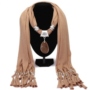 Agate Pendant Scarf Necklace