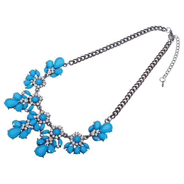 Rhinestone Flower Drop Necklace
