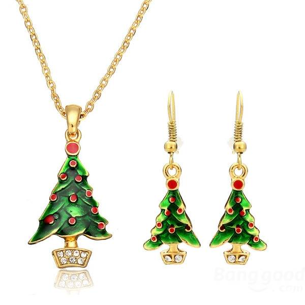 Christmas Enamel Jewelry Set