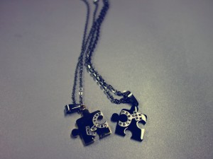 Matching Hearts Lover Necklaces