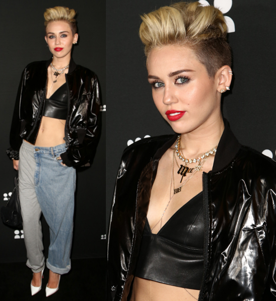 Miley Cyrus Wear Out Rock & Roll Style with Gold Jewelry ...