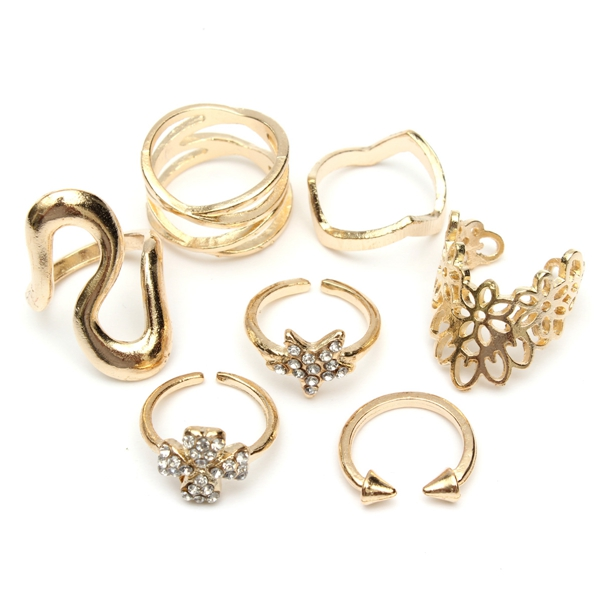 7Pcs Leaf Rhinestone Rings