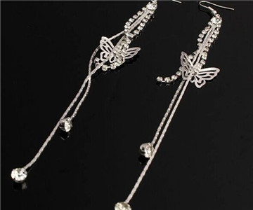 rhinestone butterfly chain earrings