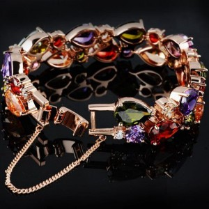 Colorful Zircon Rose Gold Bracelet