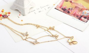 Crystal Butterfly Double Chain Necklace