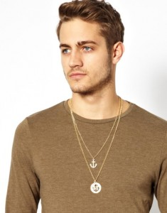 handsome men with anchor necklace