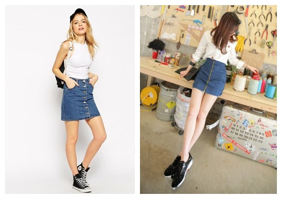 women with jean skirt.