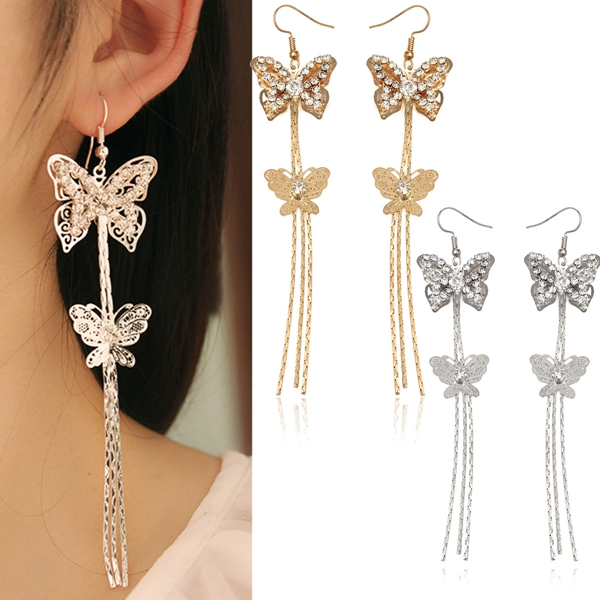 long tassels butterfly earrings