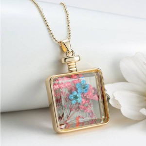 real dry flower necklace