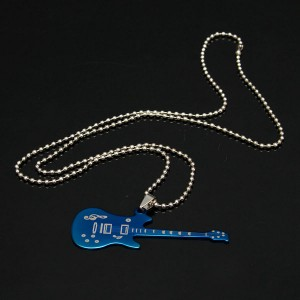 stainless guitar pendant necklace