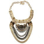 vintage gold silver crystal necklace
