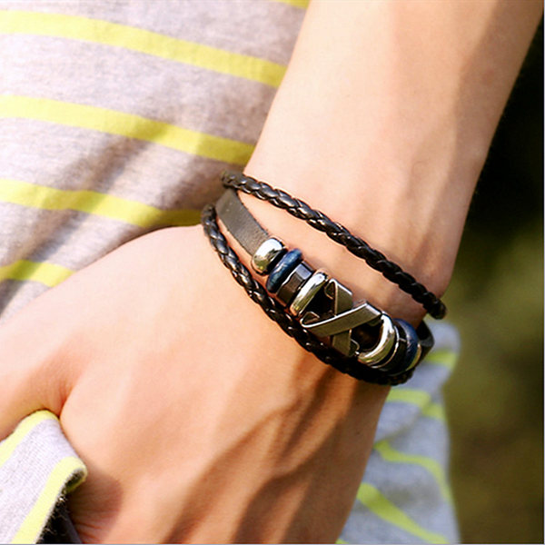 multilayer braided leather bracelet