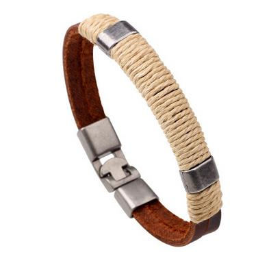 Men Braided Leather Bracelet