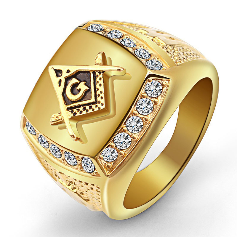 Rhinestone Freemason Ring