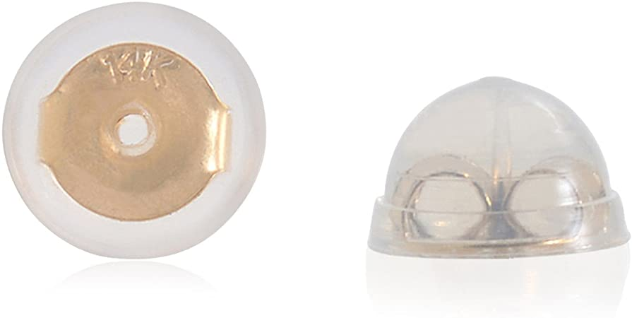 Universal EZback Earring Backs Soft Clear Silicone and 14k Yellow Gold.